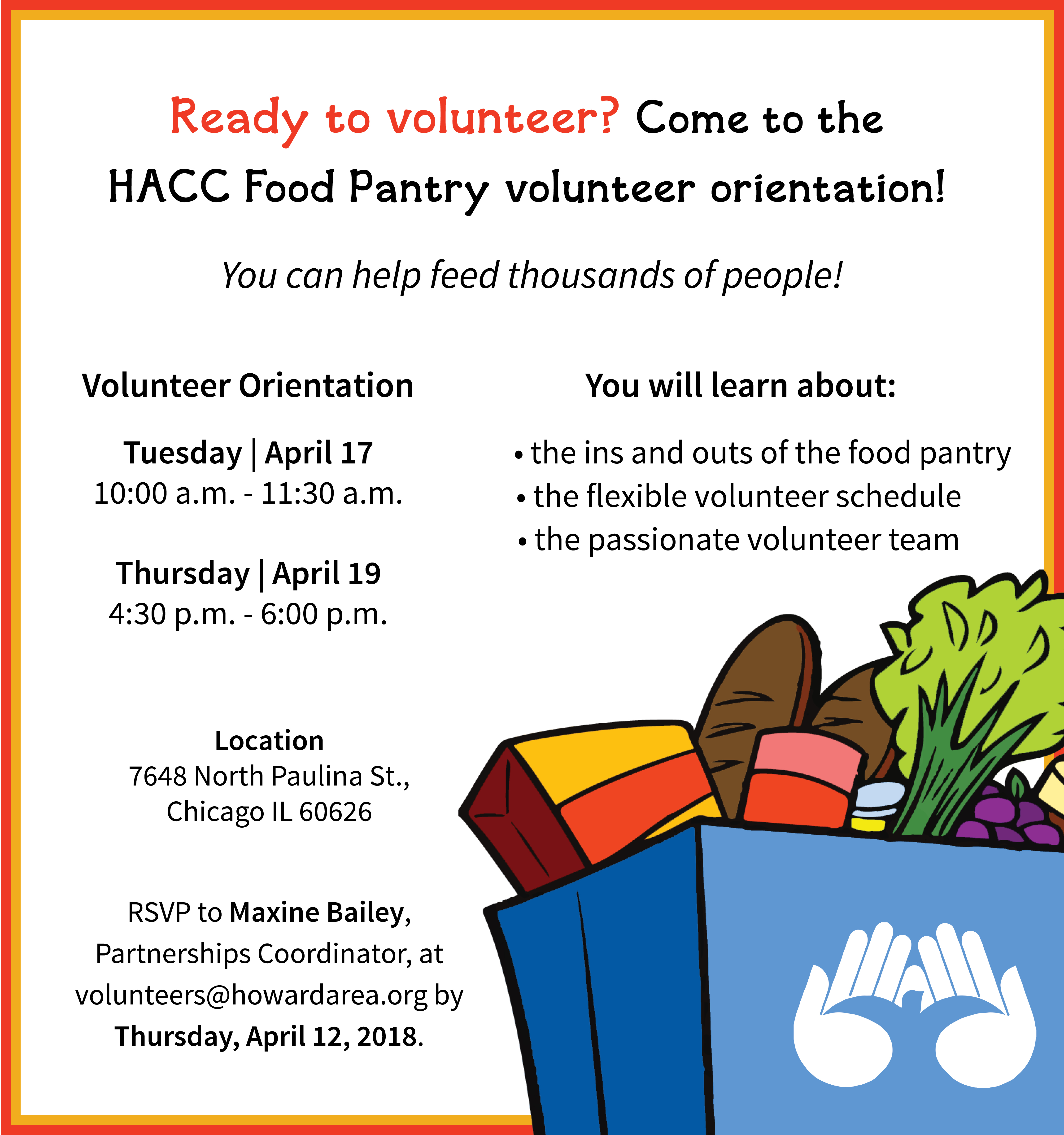 Register today New food pantry volunteer orientation on April 17th